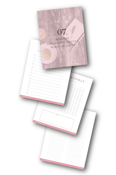 A preview of the bonus Checklists, Notes & Habit Trackers in The Abundance Planner
